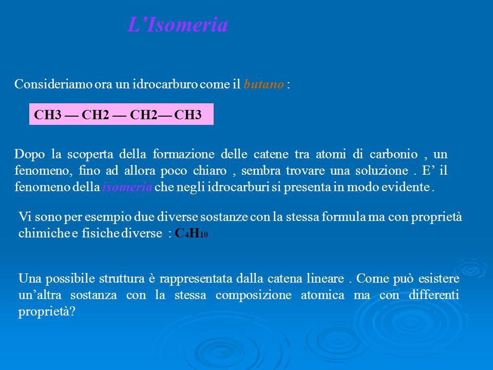 LIsomeria Consideriamo ora un idrocarburo come il butano : CH3 CH2 CH2 CH3 Dopo la scoperta della formazione delle catene tra atomi di carbonio, un fe