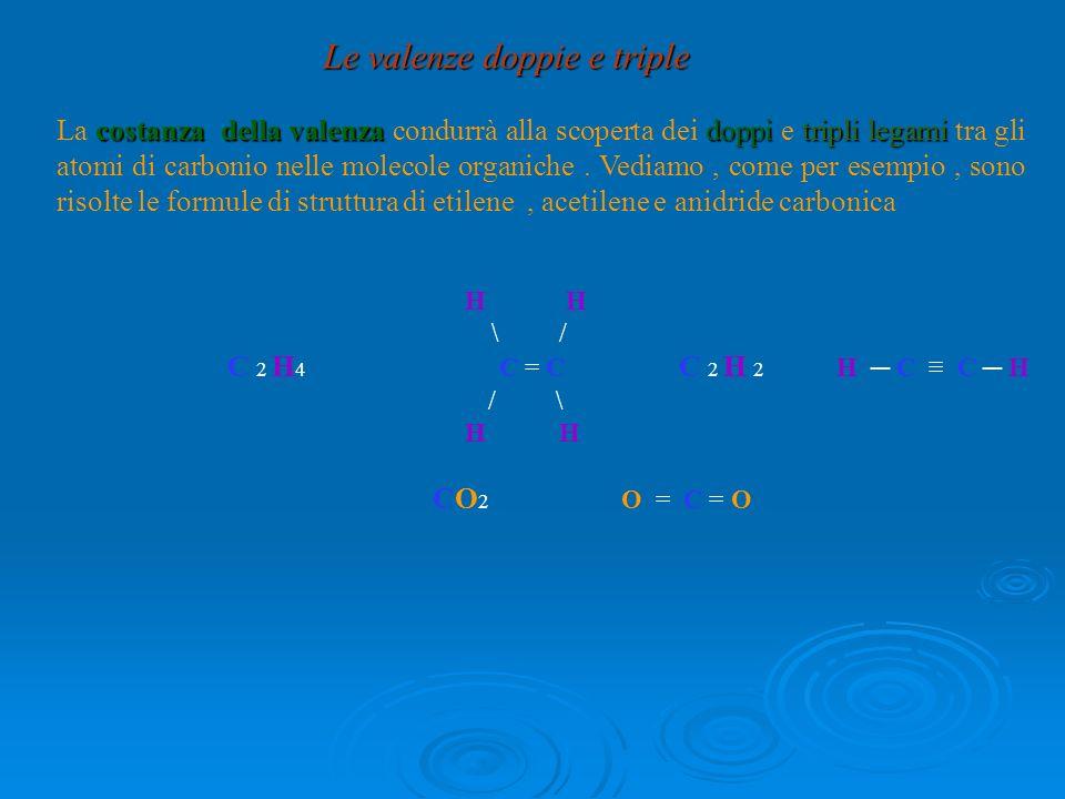 H \ / C 2 H 4 C = C C 2 H 2 H C C H / \ H CO 2 O = C = O Le valenze doppie e triple costanza della valenzadoppitripli legami La costanza della valenza