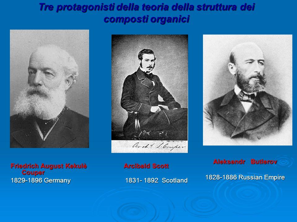 Tre protagonisti della teoria della struttura dei composti organici Friedrich August Kekulè Arcibald Scott Couper 1829-1896 Germany 1831- 1892 Scotlan