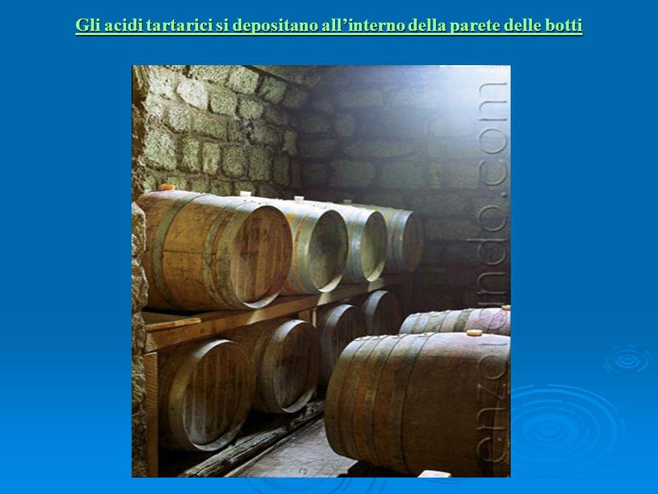 Gli acidi tartarici si depositano allinterno della parete delle botti Gli acidi tartarici si depositano allinterno della parete delle botti