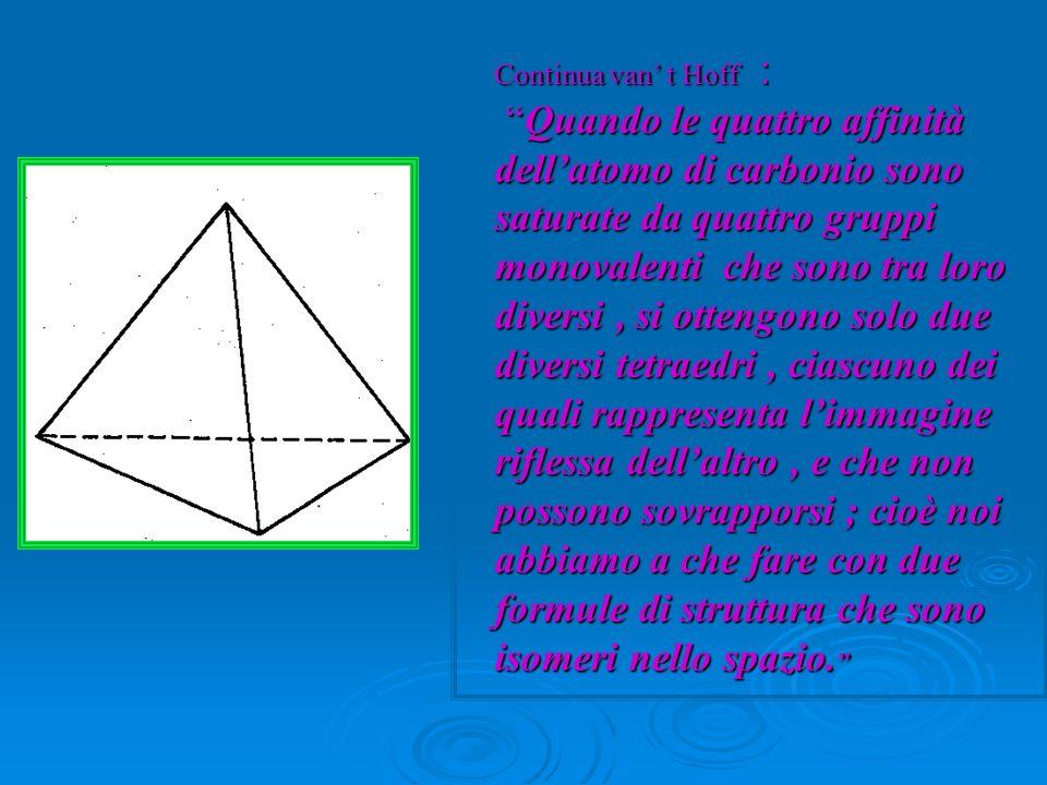 Continua van t Hoff :Quando le quattro affinità dellatomo di carbonio sono saturate da quattro gruppi monovalenti che sono tra loro diversi, si otteng