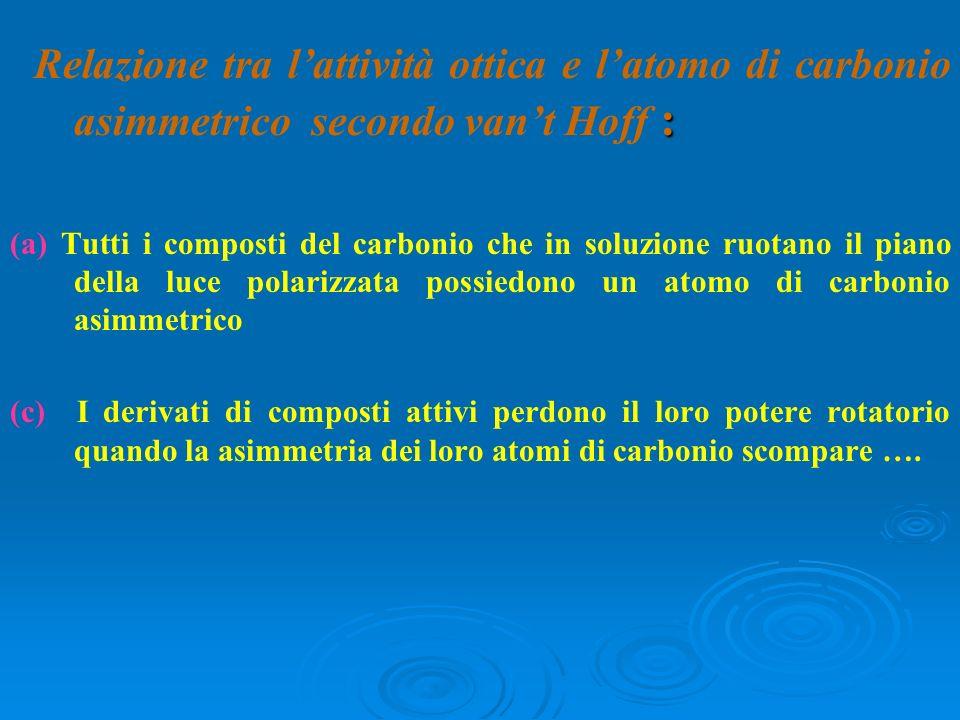 : Relazione tra lattività ottica e latomo di carbonio asimmetrico secondo vant Hoff : (a) Tutti i composti del carbonio che in soluzione ruotano il pi