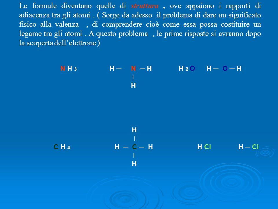 Le sostanze organiche e la valenza del carbonio Con le sostanze organiche la valenza solleva un problema : consideriamo la formula minima di alcune sostanze della classe degli idrocarburi 4 3 2,6 2,5 2,4 C H 4 ; C H 3 ; C 3 H 8 ; C 2 H 5 ; C 5 H 12 2,3 2,2 2,0 C 7 H 16 ; C 9 H 20 ; C 21 H 44 …………… I numeri insopra gli atomici carbonio, indicano la loro apparente valenza, calcolata dividendo gli atomi di idrogeno (che equivalgono anche alle loro valenze totali, essendo la valenza di un atomo di idrogeno uguale ad uno ) I numeri in rosso, sopra gli atomici carbonio, indicano la loro apparente valenza, calcolata dividendo gli atomi di idrogeno (che equivalgono anche alle loro valenze totali, essendo la valenza di un atomo di idrogeno uguale ad uno ) di ciascun composto per il numero di atomo di carbonio.