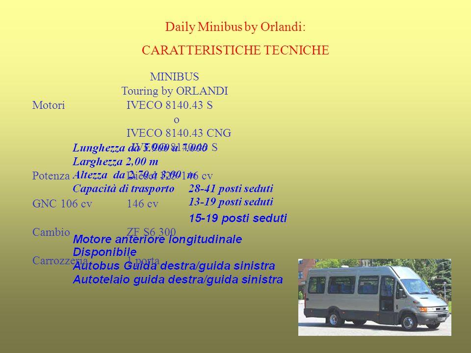 Daily Minibus by Orlandi: CARATTERISTICHE TECNICHE MINIBUS Touring by ORLANDI MotoriIVECO 8140.43 S o IVECO 8140.43 CNG IVECO 8140.43 S PotenzaDiesel