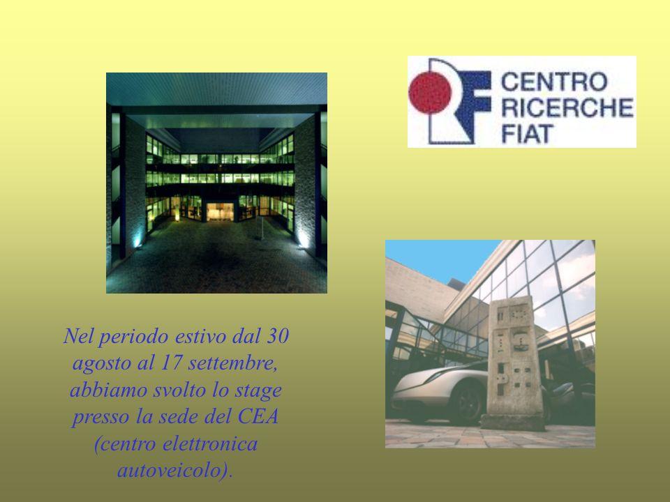 Nel periodo estivo dal 30 agosto al 17 settembre, abbiamo svolto lo stage presso la sede del CEA (centro elettronica autoveicolo).