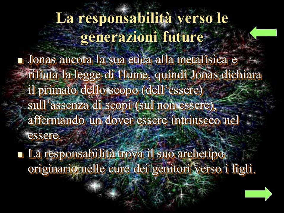 La responsabilità verso le generazioni future Jonas ancora la sua etica alla metafisica e rifiuta la legge di Hume, quindi Jonas dichiara il primato dello scopo (dellessere) sullassenza di scopi (sul non essere), affermando un dover essere intrinseco nel essere.