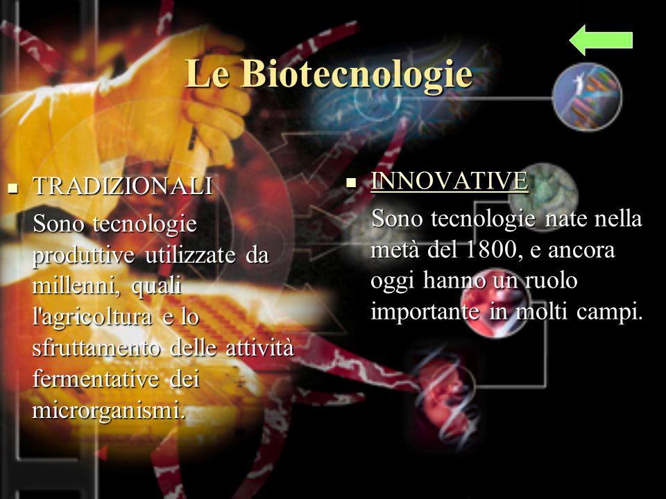 TRADIZIONALI TRADIZIONALI Sono tecnologie produttive utilizzate da millenni, quali l agricoltura e lo sfruttamento delle attività fermentative dei microrganismi.
