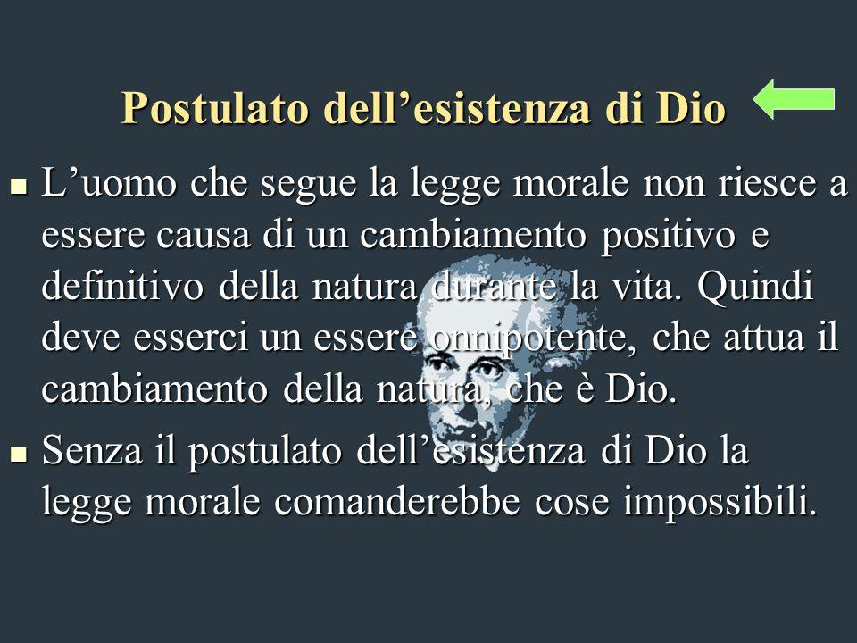 Postulato dellesistenza di Dio Luomo che segue la legge morale non riesce a essere causa di un cambiamento positivo e definitivo della natura durante la vita.