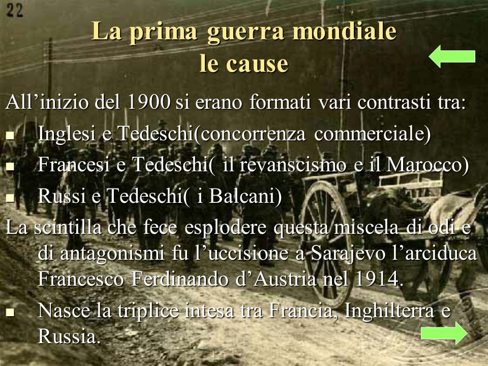 La prima guerra mondiale le cause Allinizio del 1900 si erano formati vari contrasti tra: Inglesi e Tedeschi(concorrenza commerciale) Inglesi e Tedeschi(concorrenza commerciale) Francesi e Tedeschi( il revanscismo e il Marocco) Francesi e Tedeschi( il revanscismo e il Marocco) Russi e Tedeschi( i Balcani) Russi e Tedeschi( i Balcani) La scintilla che fece esplodere questa miscela di odi e di antagonismi fu luccisione a Sarajevo larciduca Francesco Ferdinando dAustria nel 1914.