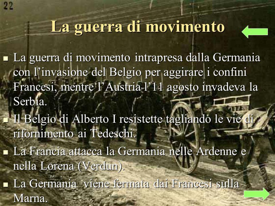 La guerra di movimento La guerra di movimento intrapresa dalla Germania con linvasione del Belgio per aggirare i confini Francesi, mentre lAustria l11 agosto invadeva la Serbia.