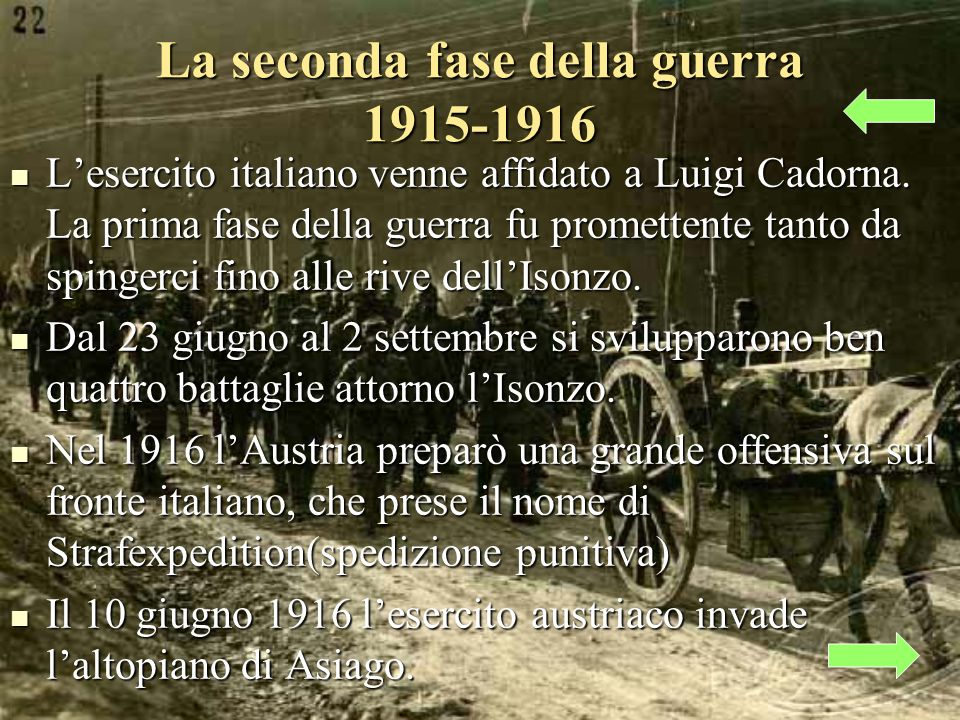 La seconda fase della guerra 1915-1916 Lesercito italiano venne affidato a Luigi Cadorna.