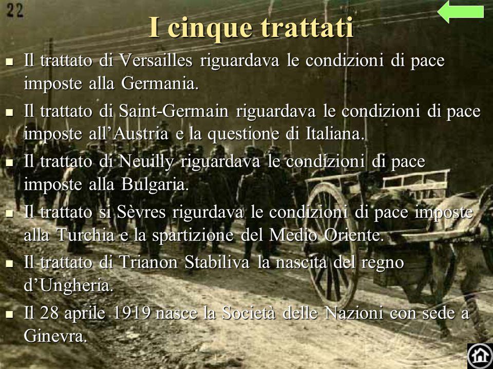 I cinque trattati Il trattato di Versailles riguardava le condizioni di pace imposte alla Germania.