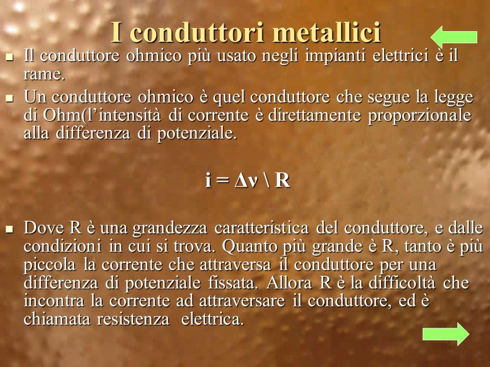 I conduttori metallici Il conduttore ohmico più usato negli impianti elettrici è il rame.