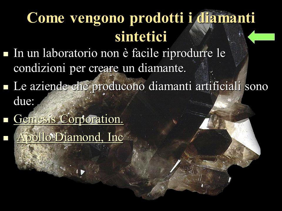 Come vengono prodotti i diamanti sintetici In un laboratorio non è facile riprodurre le condizioni per creare un diamante.