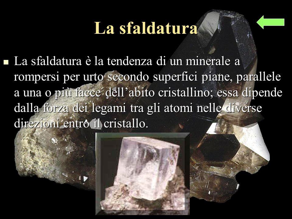 La sfaldatura La sfaldatura è la tendenza di un minerale a rompersi per urto secondo superfici piane, parallele a una o più facce dellabito cristallino; essa dipende dalla forza dei legami tra gli atomi nelle diverse direzioni entro il cristallo.
