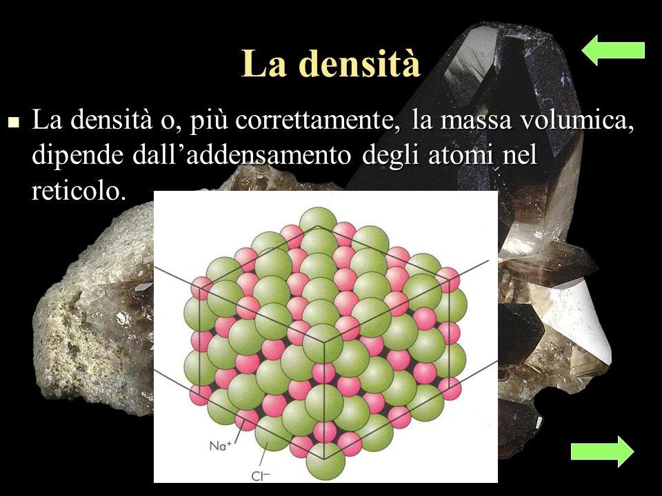 La densità La densità o, più correttamente, la massa volumica, dipende dalladdensamento degli atomi nel reticolo.
