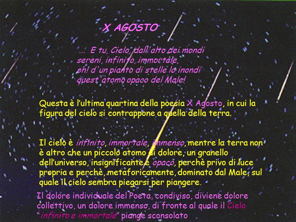 X AGOSTO... E tu, Cielo, dall'alto dei mondi sereni, infinito, immortale, oh! d'un pianto di stelle lo inondi quest'atomo opaco del Male! Questa è lul