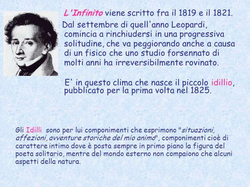 L'Infinito viene scritto fra il 1819 e il 1821. Dal settembre di quell'anno Leopardi, comincia a rinchiudersi in una progressiva solitudine, che va pe