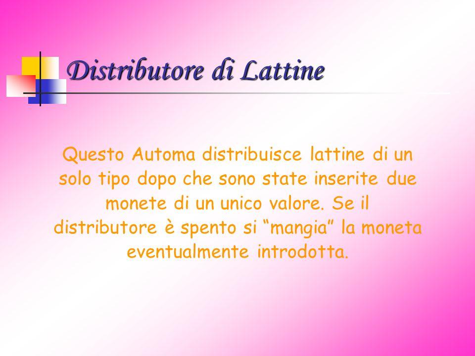 Distributore di Lattine Questo Automa distribuisce lattine di un solo tipo dopo che sono state inserite due monete di un unico valore.
