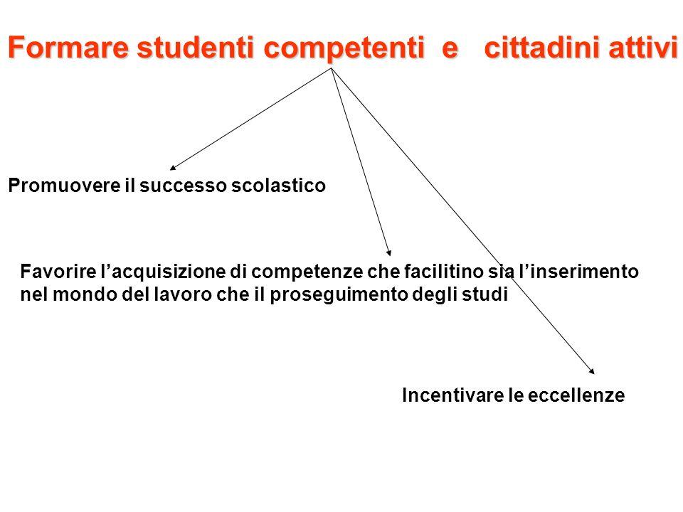 Formare studenti competenti e cittadini attivi Promuovere il successo scolastico Incentivare le eccellenze Favorire lacquisizione di competenze che fa