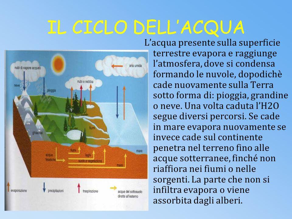 LACQUA Linsieme delle acque presenti sulla terra (comprese quelle sotterranee) è chiamato IDROSFERA. Lacqua è presente sulla terra in tutti e tre i su