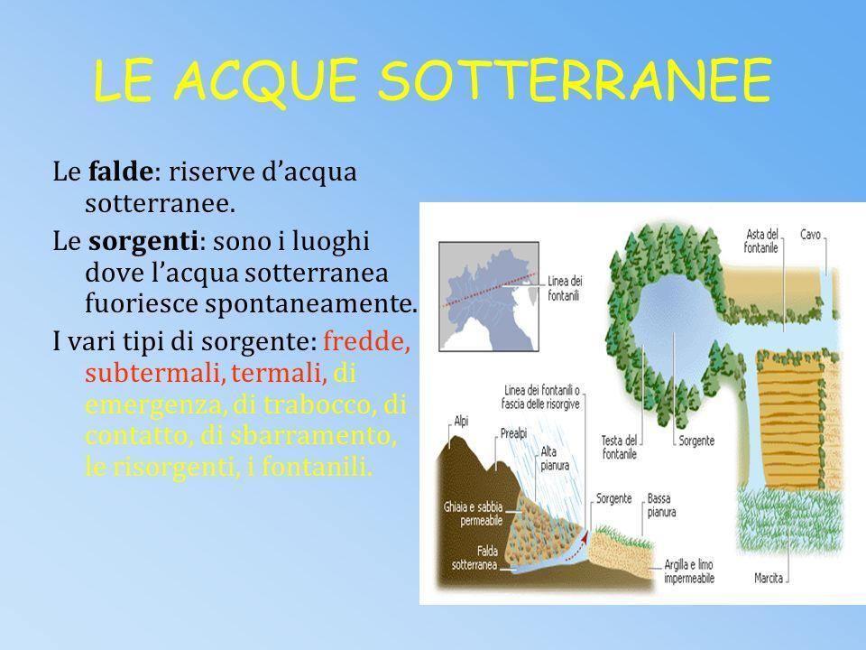 LE ACQUE DOLCI Le acque dolci occupano solo il 3% dellH 2 O presente nella Terra, tra cui il 2% è occupato dai ghiacciai. L1% si trova nei fiumi, nei