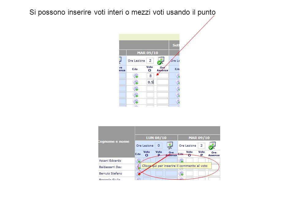 Si possono inserire voti interi o mezzi voti usando il punto