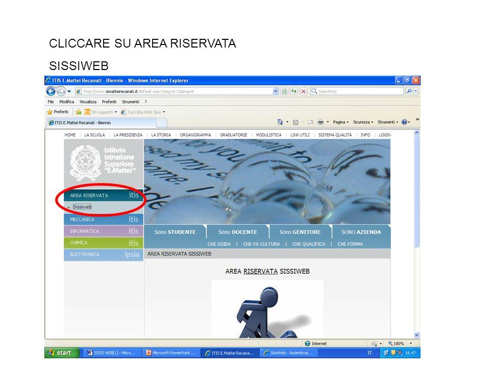CLICCARE SU AREA RISERVATA SISSIWEB