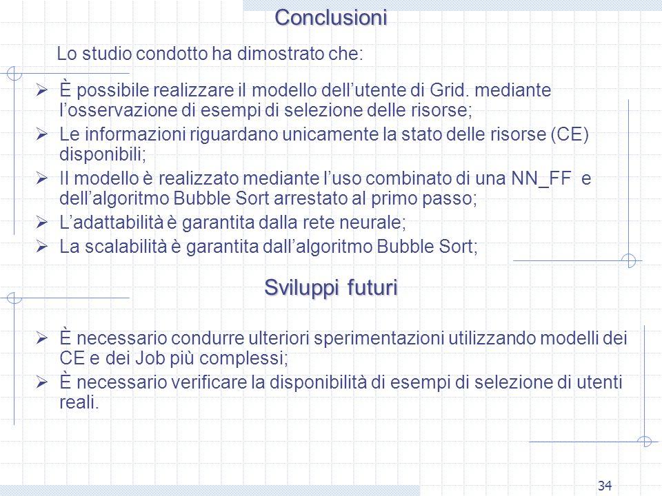 34Conclusioni Lo studio condotto ha dimostrato che: Sviluppi futuri È possibile realizzare il modello dellutente di Grid. mediante losservazione di es