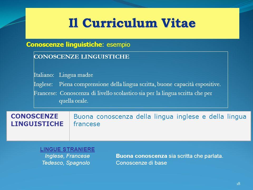 18 CONOSCENZE LINGUISTICHE Italiano:Lingua madre Inglese:Piena comprensione della lingua scritta, buone capacità espositive. Francese: Conoscenza di l