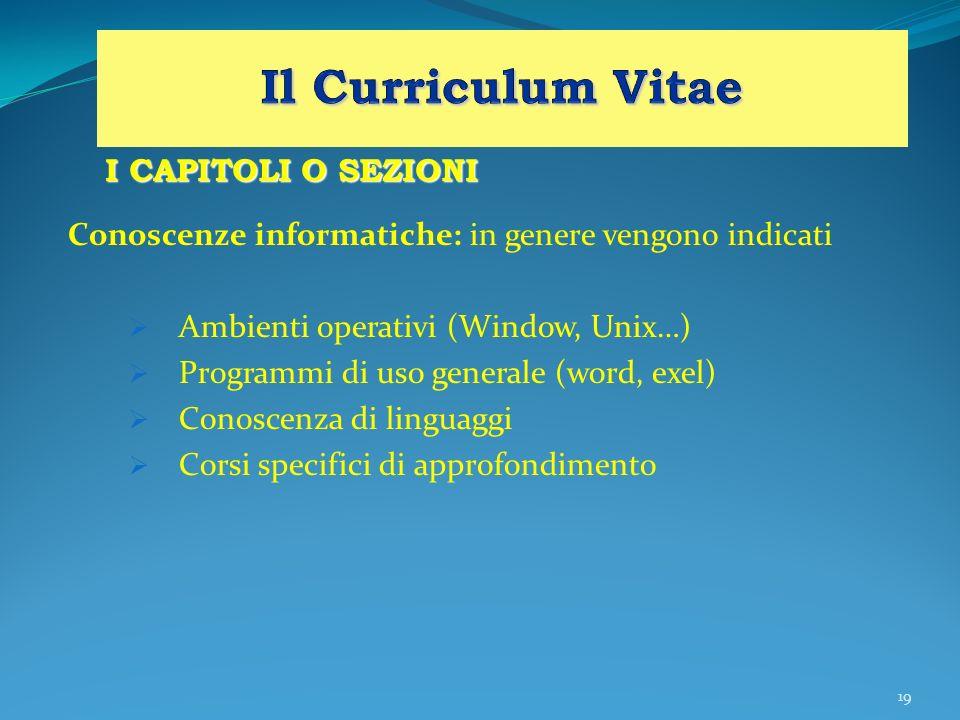 19 I CAPITOLI O SEZIONI Conoscenze informatiche: in genere vengono indicati Ambienti operativi (Window, Unix…) Programmi di uso generale (word, exel)