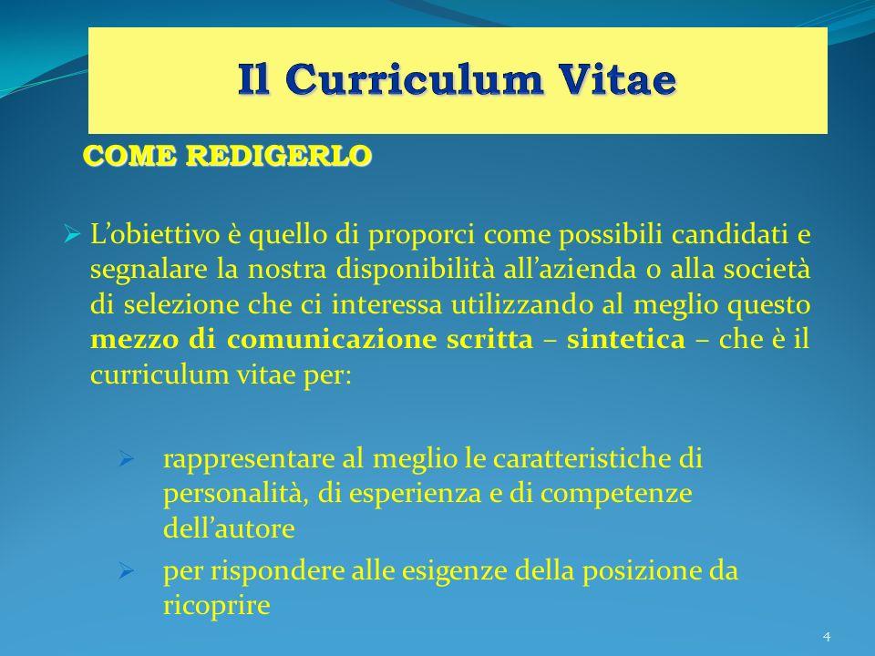 4 COME REDIGERLO Lobiettivo è quello di proporci come possibili candidati e segnalare la nostra disponibilità allazienda o alla società di selezione c