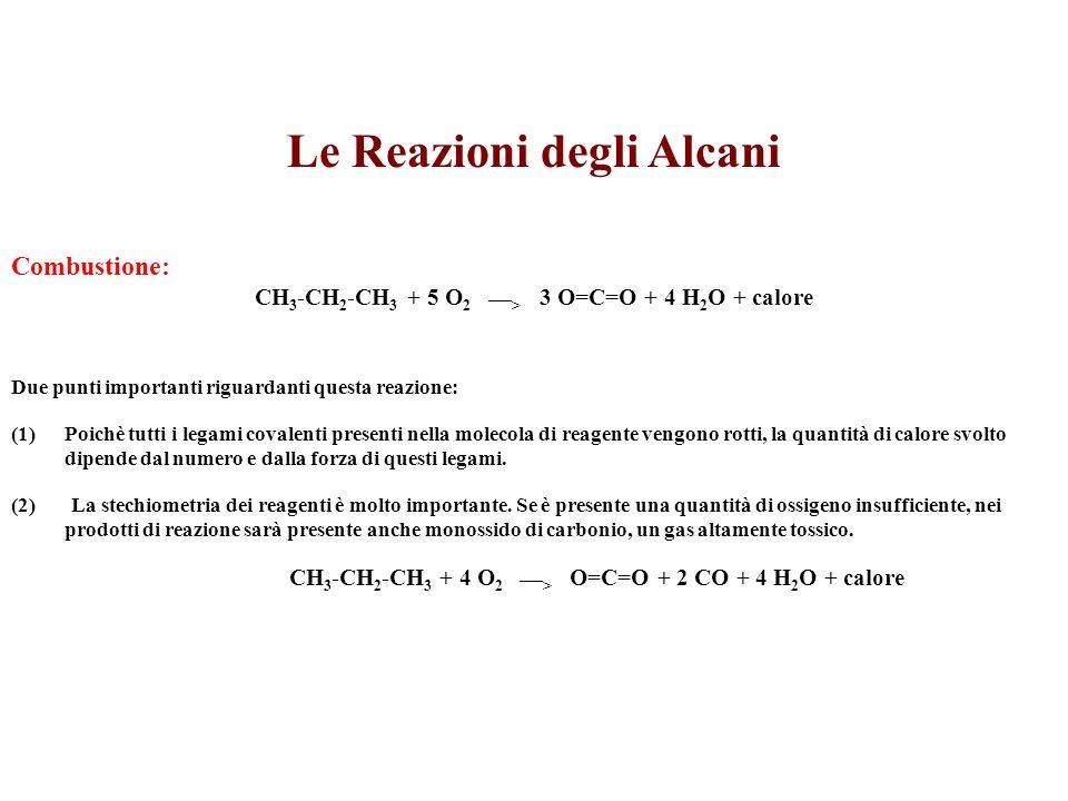 Le Reazioni degli Alcani Combustione: CH 3 -CH 2 -CH 3 + 5 O 2 ___ > 3 O=C=O + 4 H 2 O + calore Due punti importanti riguardanti questa reazione: (1)P