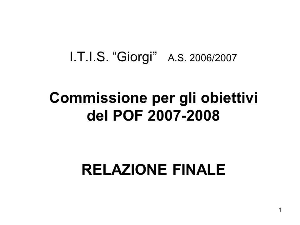 1 I.T.I.S. Giorgi A.S. 2006/2007 Commissione per gli obiettivi del POF 2007-2008 RELAZIONE FINALE