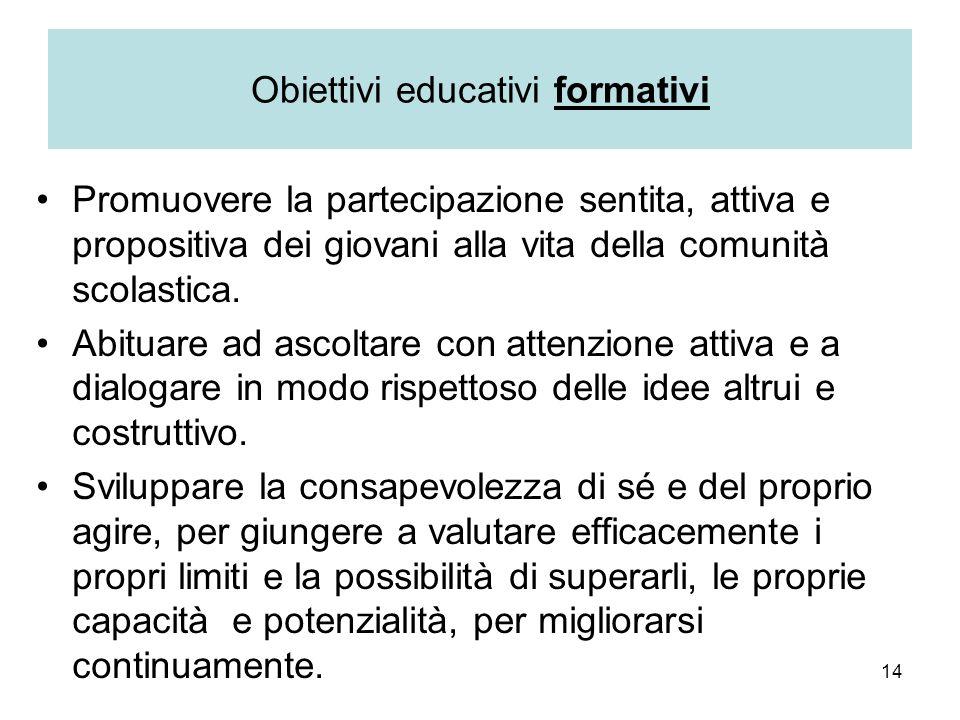 14 Obiettivi educativi formativi Promuovere la partecipazione sentita, attiva e propositiva dei giovani alla vita della comunità scolastica. Abituare