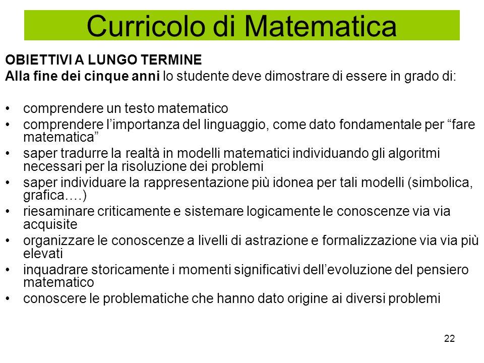 22 OBIETTIVI A LUNGO TERMINE Alla fine dei cinque anni lo studente deve dimostrare di essere in grado di: comprendere un testo matematico comprendere