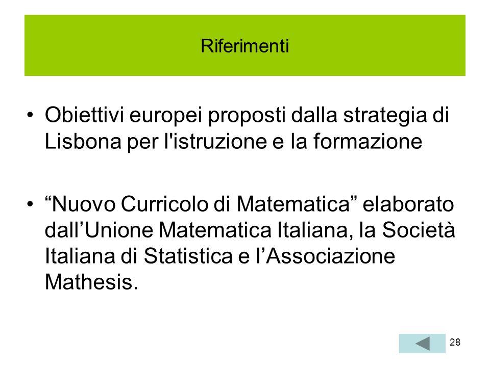28 Riferimenti Obiettivi europei proposti dalla strategia di Lisbona per l'istruzione e la formazione Nuovo Curricolo di Matematica elaborato dallUnio