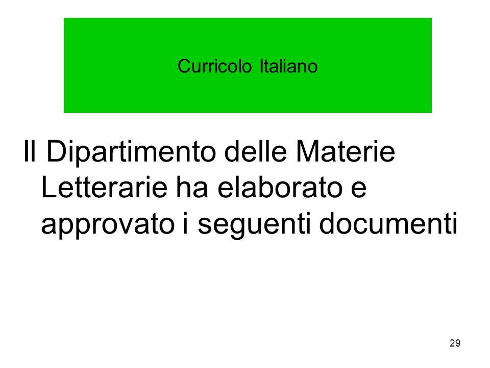 29 Curricolo Italiano Il Dipartimento delle Materie Letterarie ha elaborato e approvato i seguenti documenti