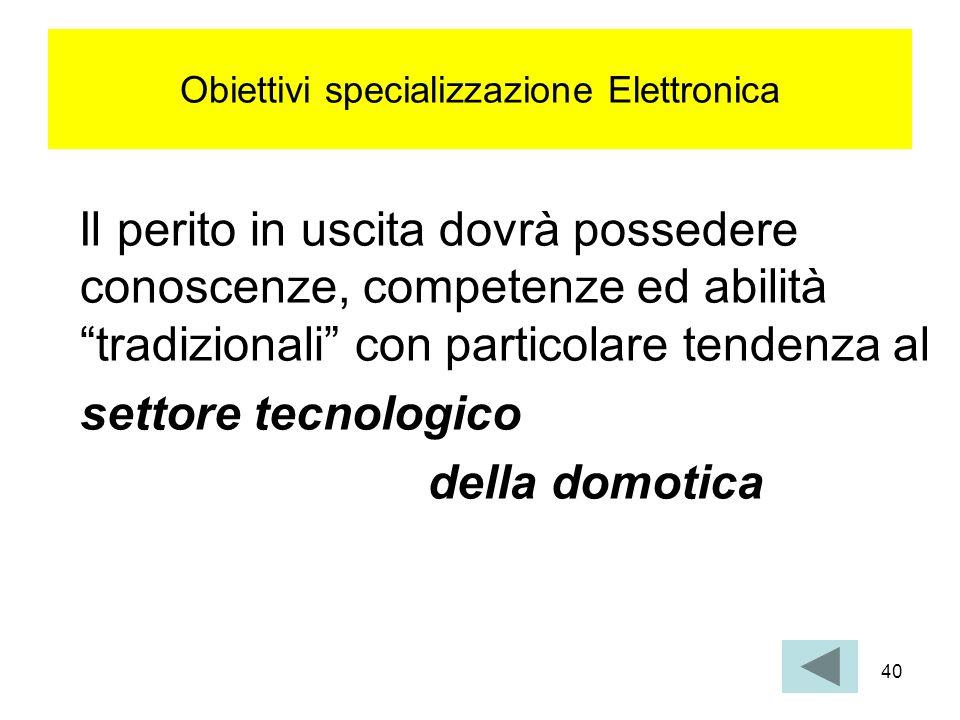40 Obiettivi specializzazione Elettronica Il perito in uscita dovrà possedere conoscenze, competenze ed abilità tradizionali con particolare tendenza