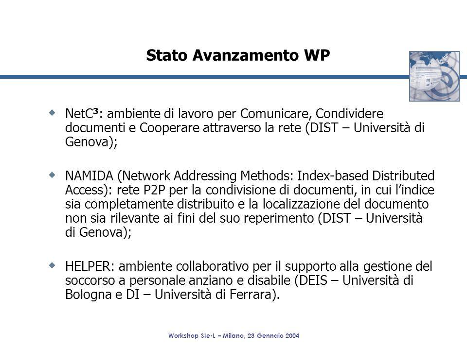 Workshop SIe-L – Milano, 23 Gennaio 2004 NetC 3 : ambiente di lavoro per Comunicare, Condividere documenti e Cooperare attraverso la rete (DIST – Univ