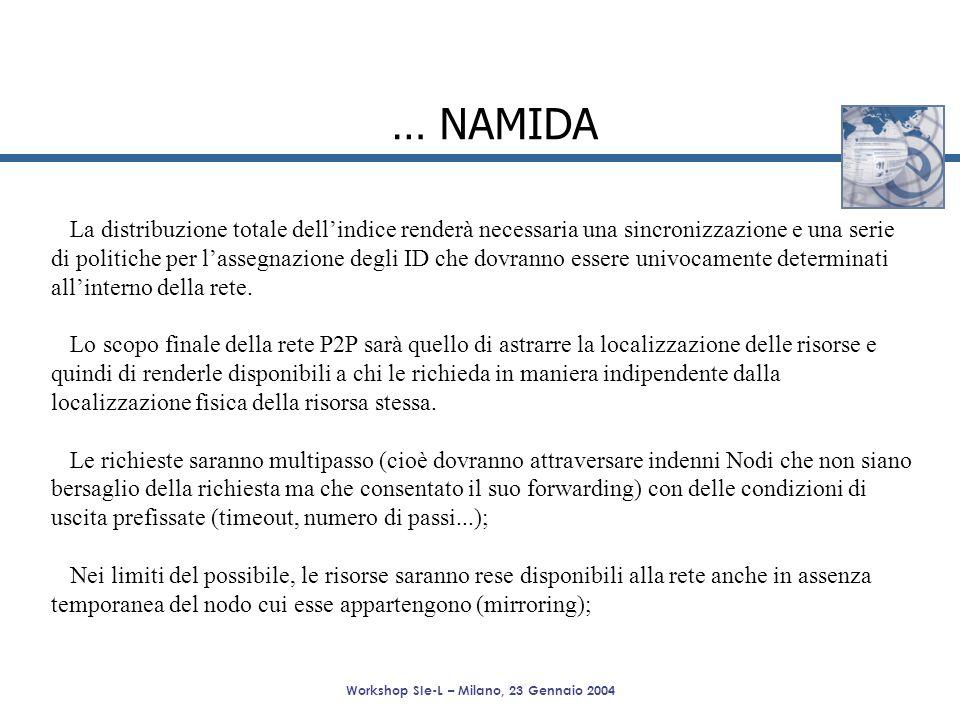 Workshop SIe-L – Milano, 23 Gennaio 2004 … NAMIDA La distribuzione totale dellindice renderà necessaria una sincronizzazione e una serie di politiche