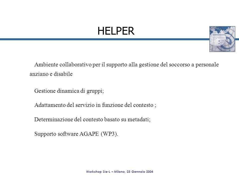 Workshop SIe-L – Milano, 23 Gennaio 2004 HELPER Ambiente collaborativo per il supporto alla gestione del soccorso a personale anziano e disabile Gesti