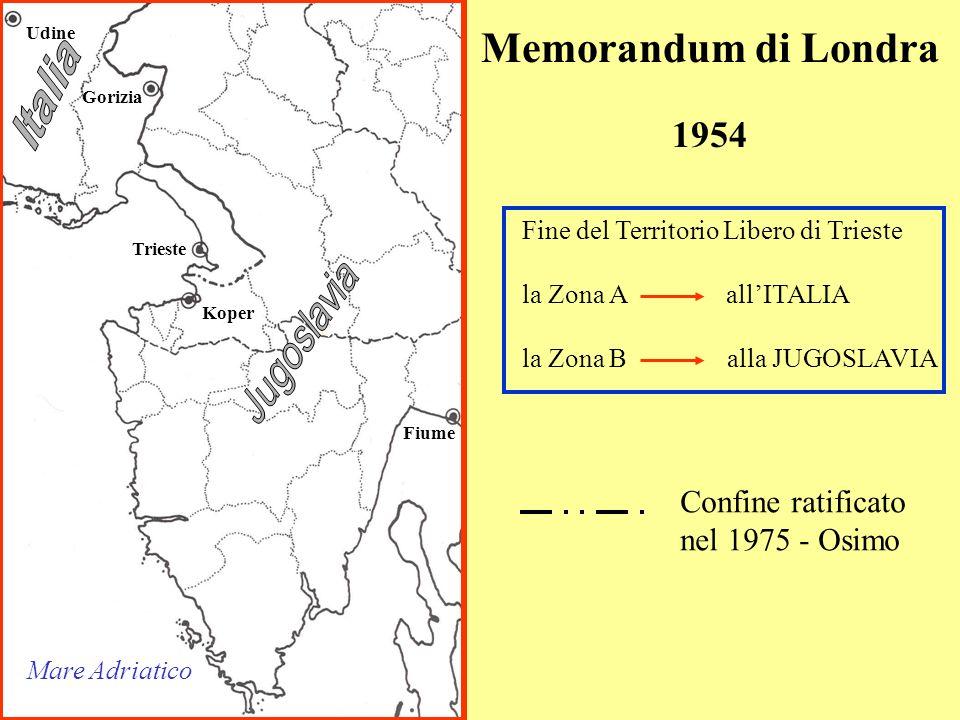 Gorizia Trieste Koper Fiume Udine Mare Adriatico Memorandum di Londra 1954 Fine del Territorio Libero di Trieste la Zona A allITALIA la Zona B alla JUGOSLAVIA Confine ratificato nel 1975 - Osimo