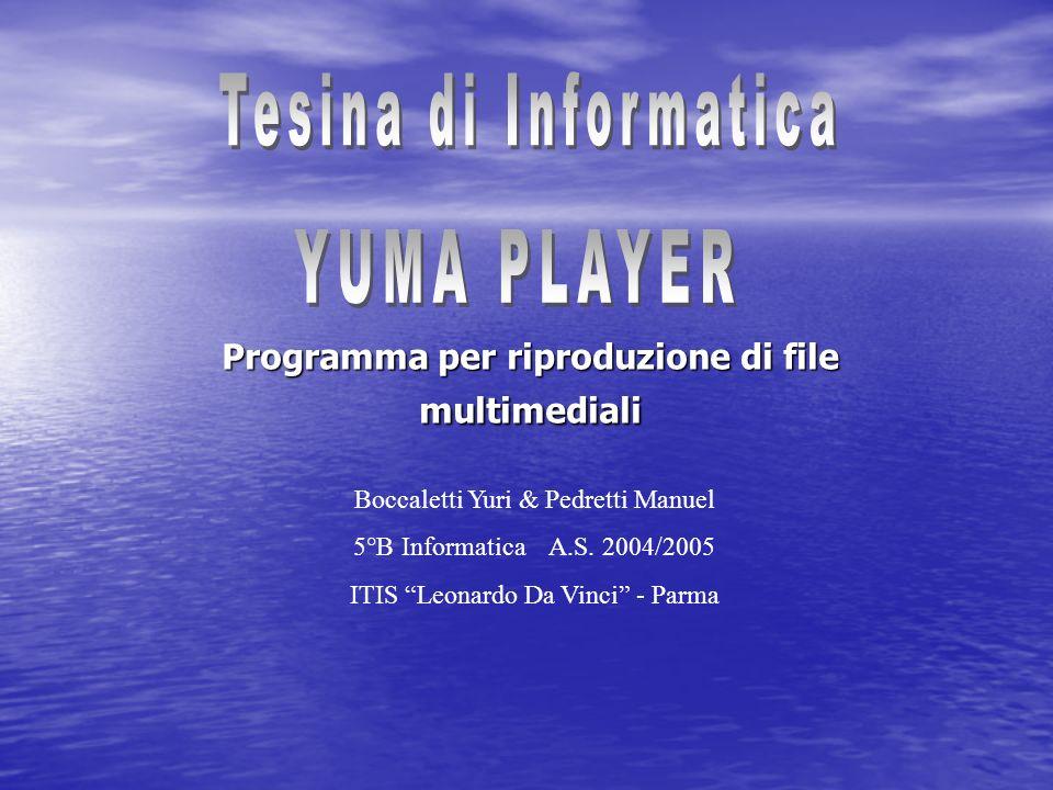 Programma per riproduzione di file multimediali Boccaletti Yuri & Pedretti Manuel 5°B Informatica A.S. 2004/2005 ITIS Leonardo Da Vinci - Parma