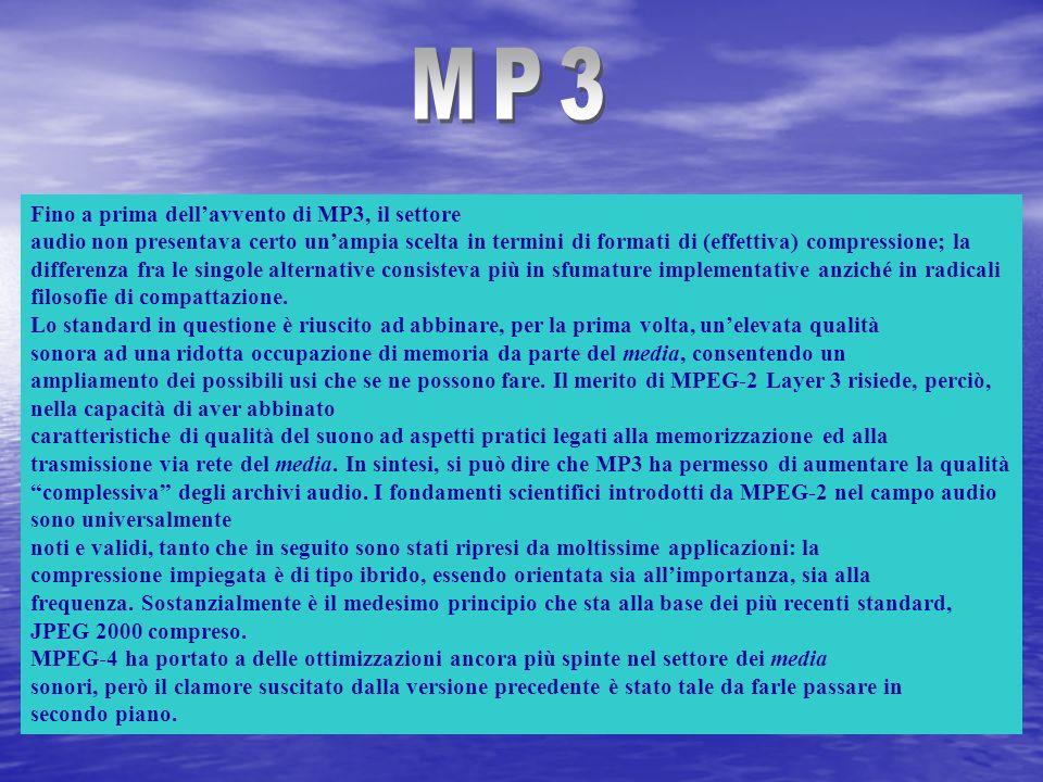 Fino a prima dellavvento di MP3, il settore audio non presentava certo unampia scelta in termini di formati di (effettiva) compressione; la differenza