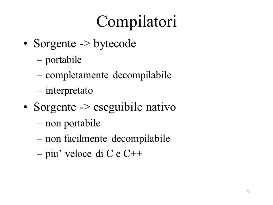 3 Bytecode e Interprete Intestazione fornisce versione Istruzioni della macchina virtuale Lunghezza constante Stack machine tipata
