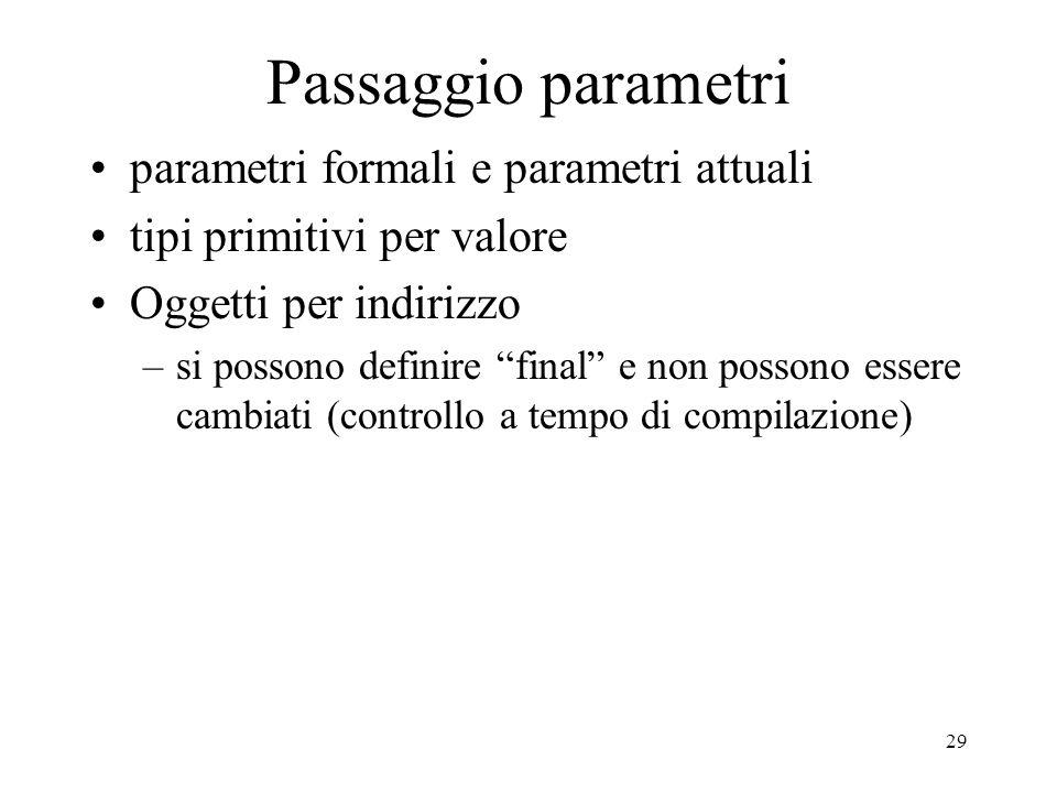 29 Passaggio parametri parametri formali e parametri attuali tipi primitivi per valore Oggetti per indirizzo –si possono definire final e non possono