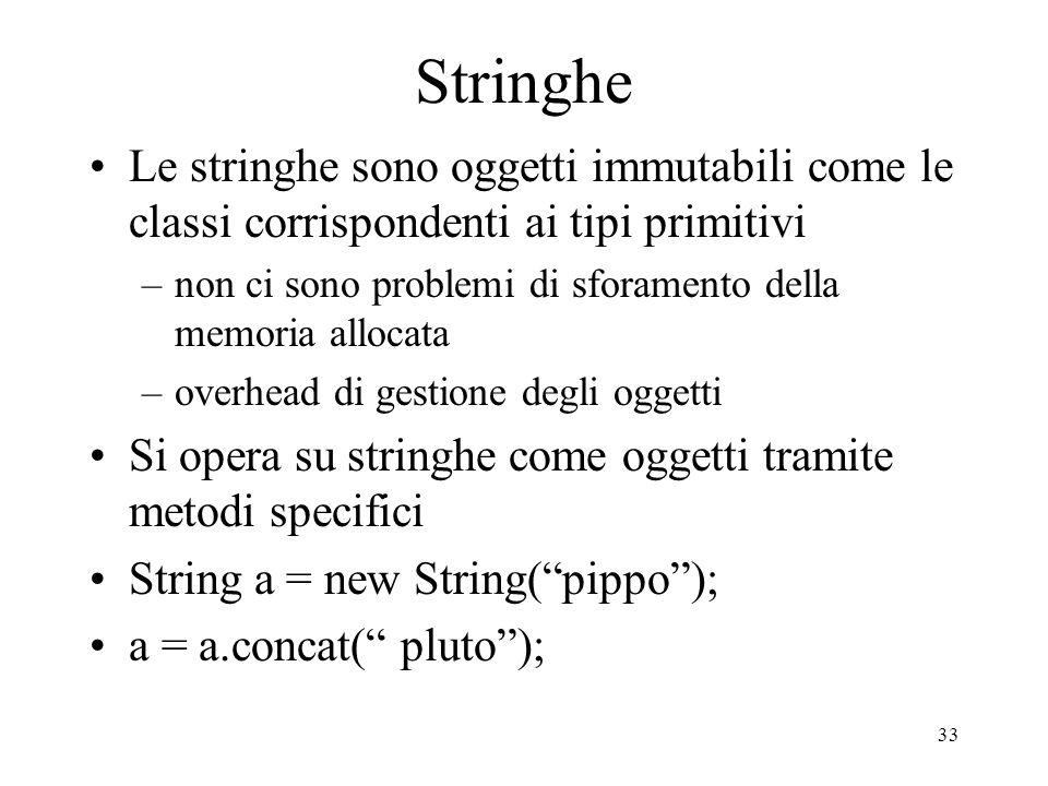 33 Stringhe Le stringhe sono oggetti immutabili come le classi corrispondenti ai tipi primitivi –non ci sono problemi di sforamento della memoria allo