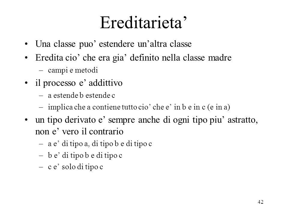 42 Ereditarieta Una classe puo estendere unaltra classe Eredita cio che era gia definito nella classe madre –campi e metodi il processo e addittivo –a