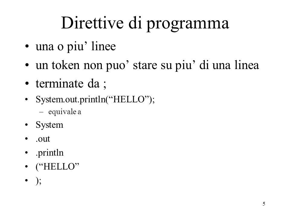 5 Direttive di programma una o piu linee un token non puo stare su piu di una linea terminate da ; System.out.println(HELLO); –equivale a System.out.p